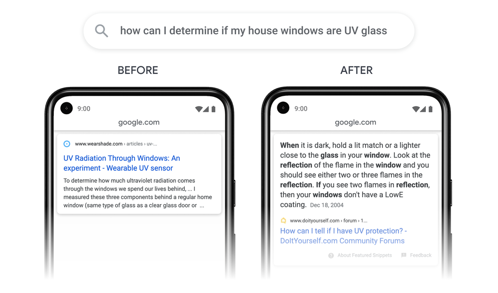 Comparison of Google passages update on mobiles