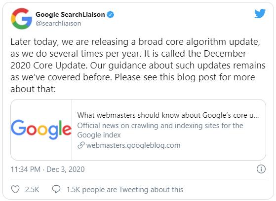 Google Search Tweet - Core Update